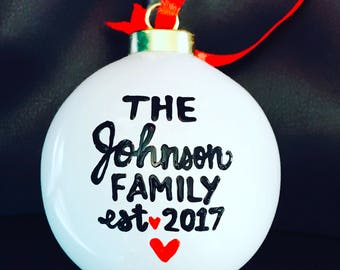 Personalized Mr and Mrs ornament with year/ Ceramic Ornament- wedding gift- his and hers gift- hand-painted stocking stuffer