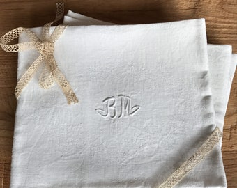 Set of 5 large white napkins, monogramm BM , handmade embroidered