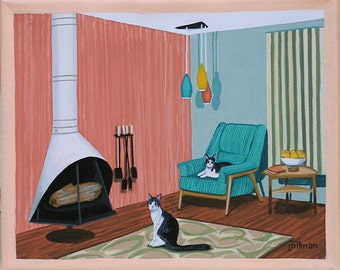 Mid Century Modern Eames Retro Limited Edition Print from Original Painting Fireplace Cats