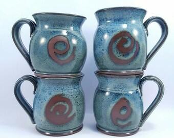 Handmade ceramic pottery Mugs glazed dark blue on red clay - handmade pottery clay coffee mugs.