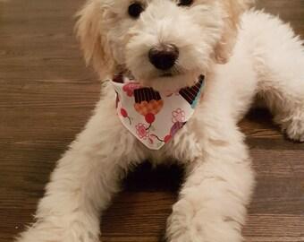 Tie-on Dog Bandana in Pink Cupcake  - XSmall/Small/Medium/Large/XLarge
