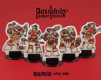 Red Clan Orc Skirmishers 28mm Fantasy Gaming Paper Miniatures