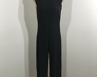 Vintage 80s Black Nylon Stretch Zip Back One Piece Cat Suit Loungewear Size Medium