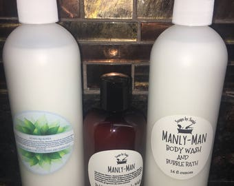 Manly-man Bubble Bath and body wash for men, bubbly bubble bath, 16 ounce bottle, bubbles, strong scented wash, vanilla woods scent