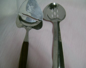 Vintage Slotted Spoons Ace Mfg Co Retro Stainless Steel Set of 2
