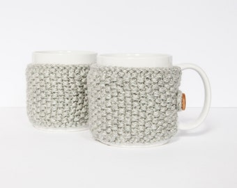 2 Knitted mug cosies, cup cosy, mug cosy, coffee cosy in light grey. Coffee mug cosy / coffee sleeve as a coffee gift!
