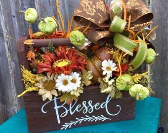 Fall Tool Caddy Arrangement, Fall Centerpiece. Fall Decor, Thanksgiving Arrangement, Thanksgiving Decor, Tool Caddy, Centerpiece