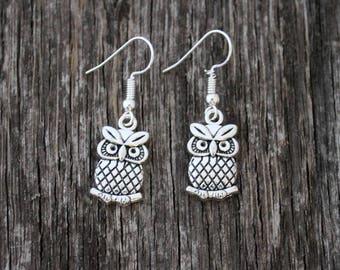Sterling Silver Plated Owl Earrings