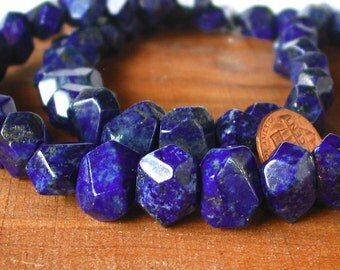 "15"" Lapis Lazuli 15mm FACETED freeform nugget Beads Gemstone - Half / Full Strand"