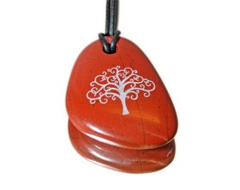 stylish klimt tree of life on pendant red jasper engraved wonderful jewelry für her gift for her under 20 Dollar jewelry ooak lucky charm