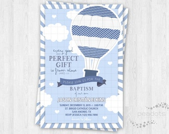 Hot Air Balloon Baptism Invitations / Christening / Religious / Thank You Cards