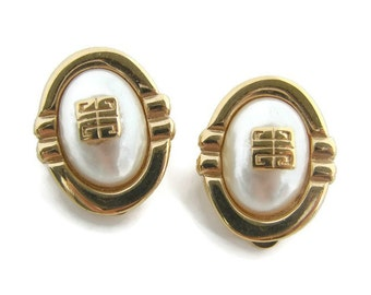 Vintage Givenchy Gold Pearl clip earrings Givenchy logo jewelry Oval clip earring Givenchy earrings Gifts for her Couture Designer jewelry