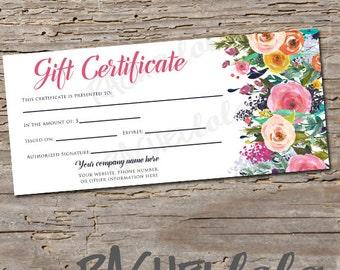 Custom, Watercolor Floral, Gift Certificate, printable
