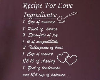 Recipe For Love... vinyl wall decal sharp family love happy together