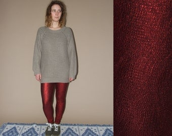 90's vintage women's claret/bordo metal leggings