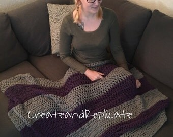 Grey and Purple Crocheted Throw/Shawl