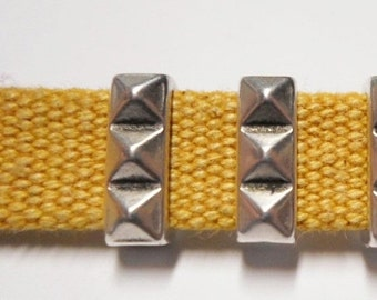 2 Spiked Silver Bar Sliders for 10mm flat leather