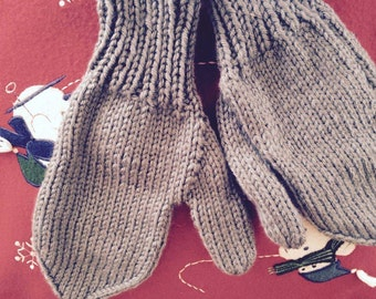 Knit mittens from small baby to x-large adult