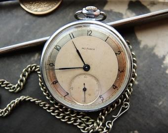 Vintage Soviet Union pocket watch MOLNIA Chchz / USSR era pocket watch / Russian Pocket watch Molnija Made in 1950s / collectible watch
