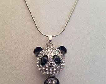 Faceted Panda Silver Necklace
