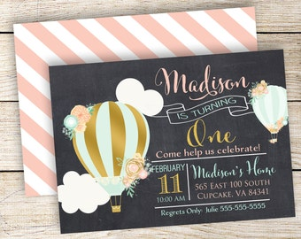Hot Air Balloon Birthday Party Invitation, Gold Hot Air Balloon, 5x7 or 4x6, Balloon Birthday Invitation