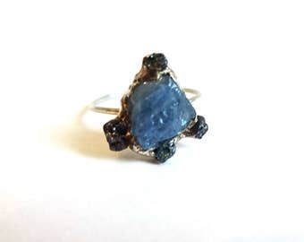 Raw Diamonds and Aquamarine Silver Ring*Rough Aquamarine and Diamonds One of a Kind Statement Ring/Anniversary Ring/Unique Engagement Ring