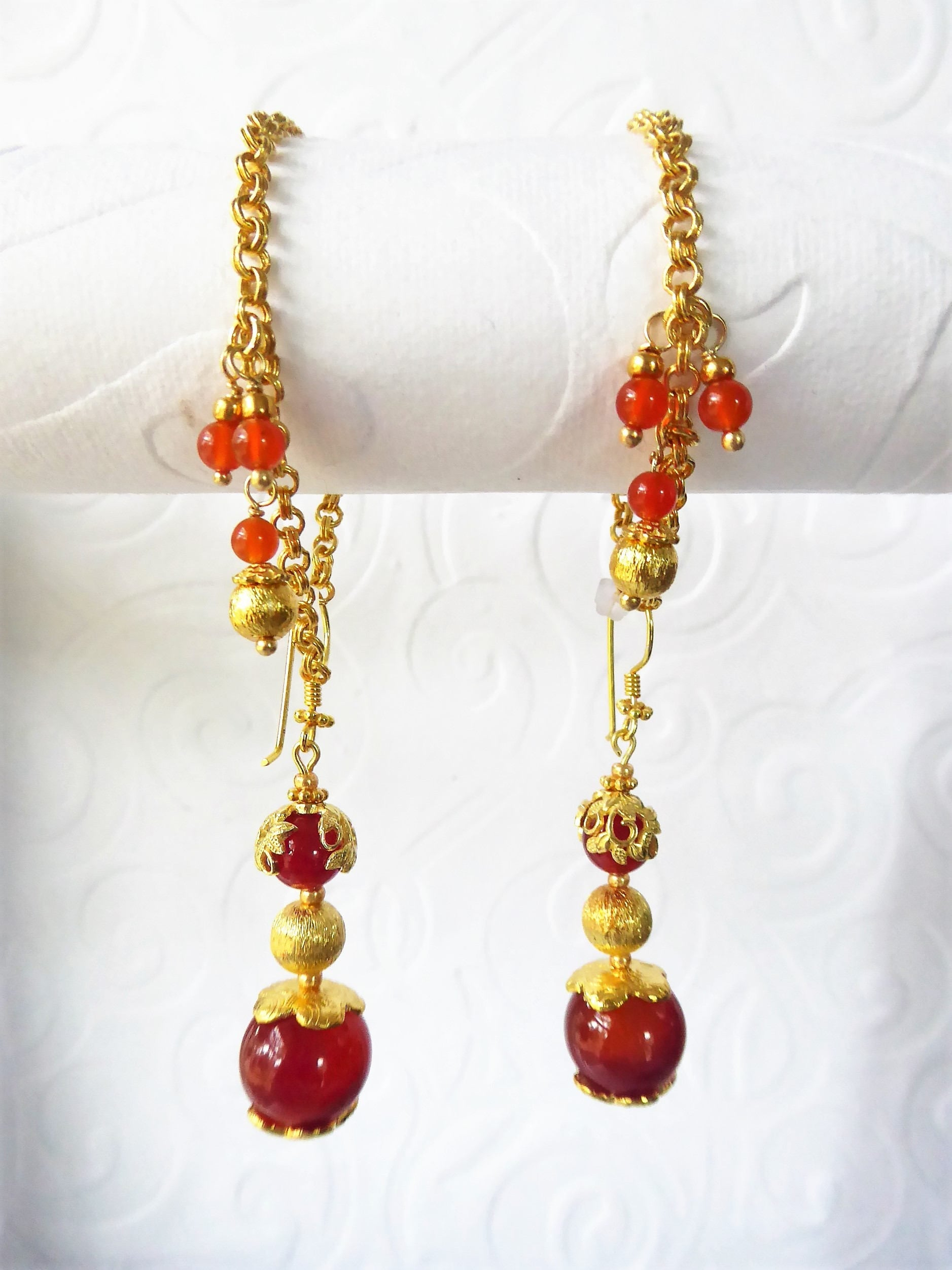 handmade unique art greek byzantine earrings carnelian silver sterling garnet style natural