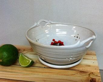 handmade berry bowl, colander, white , ceramic colander, white berry bowl, hostess gift, gift ideas, mother's day gift
