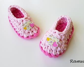 Pink Slippers, Girl Slippers, Cotton Slippers, NON-SLIP, Ballet Flats, Gift Wrapped, Home Shoes, Crochet slippers, Baby girl slippers