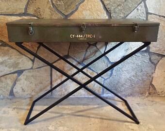 Vintage Military Radio Antenna Case Table