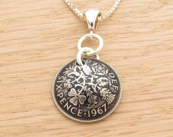 For 50th: 1967 UK Sixpence Necklace 50th Birthday or 50th Anniversary Gift Coin Jewelry