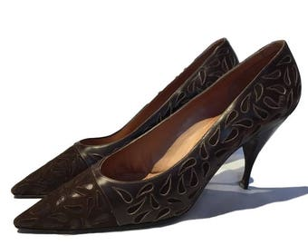 Vintage Italian Brown Leather Mondaine late 50s / early 60s original Kitten heels Shoes 5 38