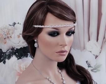 Crystal Bridal Headband Headpiece Blue Pink Clear Wedding Hair Accessory Prom Bridesmade Beaded Tiara Bridal Accessories Jewelry
