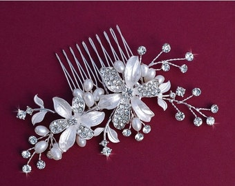 Freshwater Pearl Comb Bride Bridal Wedding Hair Hairpiece Crystal Accessory Jewelry Headpiece Head Piece Blusher Birdcage Veil Comb