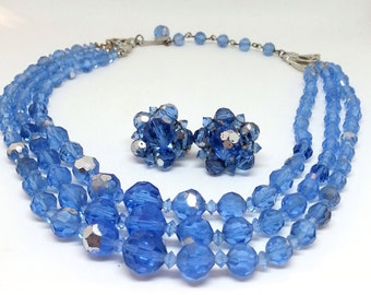 Triple Strand Aurora Borealis Blue Bead Necklace & Clip Earrings, Mid Century Costume Jewelry, Demi Parure, AB Glass