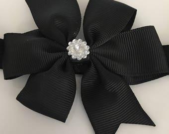 BLACK Bow Headband w/ Embellishment