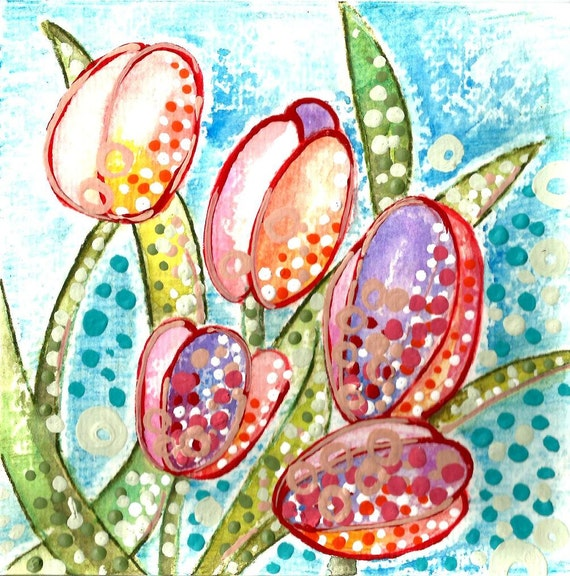 Items similar to tulip watercolor art etsy spring tulips for Best way to sell paintings online