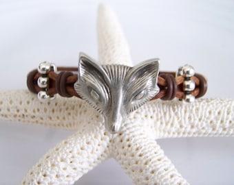 Brown Leather Fox Bracelet - Item R6559