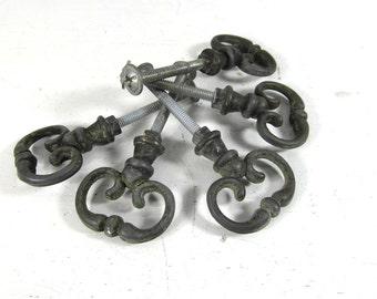 5 metal drawer pulls, drawer handles, door knobs, French vintage, French country decor, made in France, French chic.