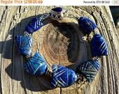 SALE Blue Fish Bracelet. Lapis Lazuli Bracelet. Bohemian, Boho, Eclectic, Primitive, Rustic, Animal, Ocean, Sea, Sterling Silver, Balinese.
