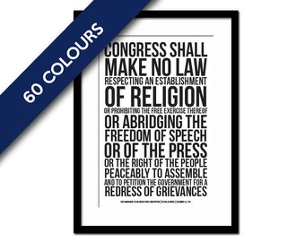 First Amendment US Constitution Bill of Rights Art Print - Freedom of Speech Free Press - Political American History - Human Civil Rights
