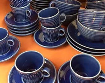 Design House Stockholm DHS1 Set of Blue Expresso and Coffee Cups with Saucers
