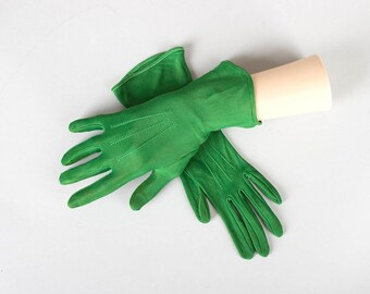 Vintage 1940s 1950s Gloves | 40s 50s Green Rayon Jersey Short Formal Dress Tea Gloves