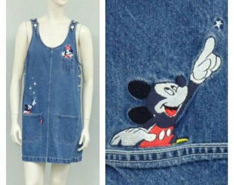 Vintage 90s Mickey Minnie Disney Denim Jumper, Skirt Overalls, Overall Skirt, Overall Dress, Overall Jumper, Skirtalls, Disney Clothing