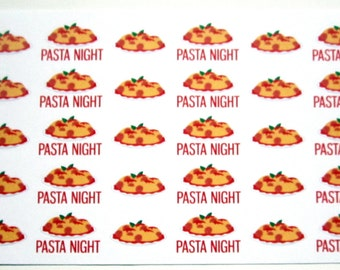 Pasta Planner Stickers, Pasta Night, Spaghetti, Food, Meal, Matte Removable