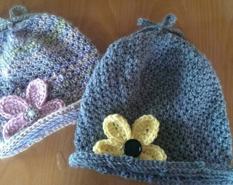 Pretty Petals winter/spring slouchy hat for Toddler to Adult.