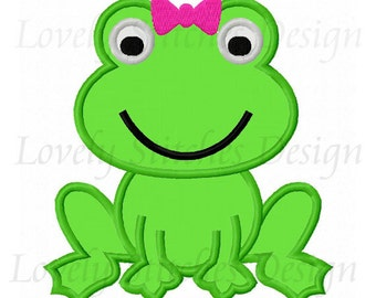 Girl Frog Applique Machine Embroidery Design NO:0595