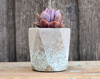Aqua Speckled Geometric Concrete Planter