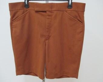 1970s vintage mens shorts, brown vintage shorts, Farah shorts,