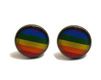 RAINBOW FLAG Cufflinks - colorful cufflink - Equality cufflink - LGBT cufflink - Mens cufflinks - gift for him - mens gift